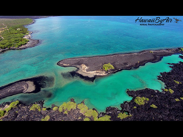 Aerial drone photography of Kiholo Bay  on the Big Island of Hawaii Wedding Drone Real Estate
