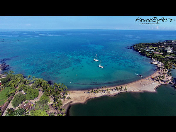 Aerial drone photography of A-Bay  on the Big Island of Hawaii Wedding Drone Real Estate