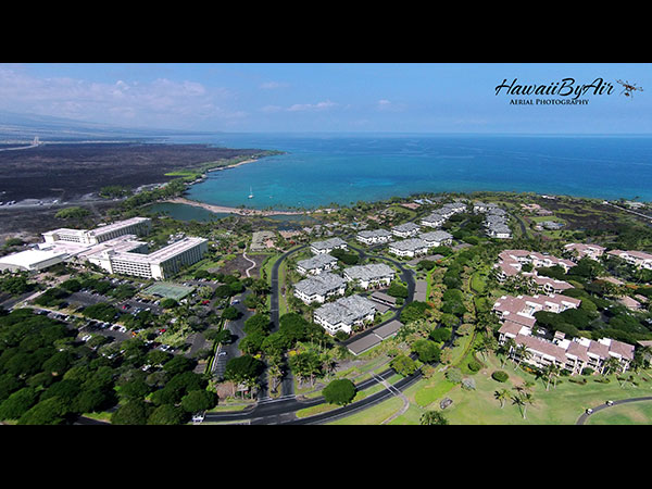 Distant aerial drone photography of A-Bay on the Big Island of Hawaii Wedding Drone Real Estate