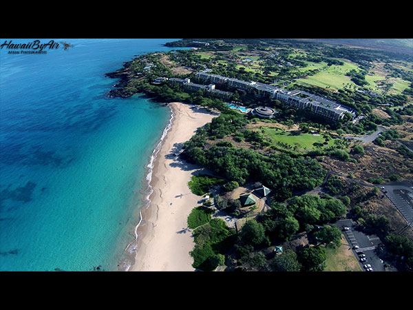 Aerial drone photography of Hapuna Beach Prince Hotel on the Big Island of Hawaii Wedding Drone Real Estate
