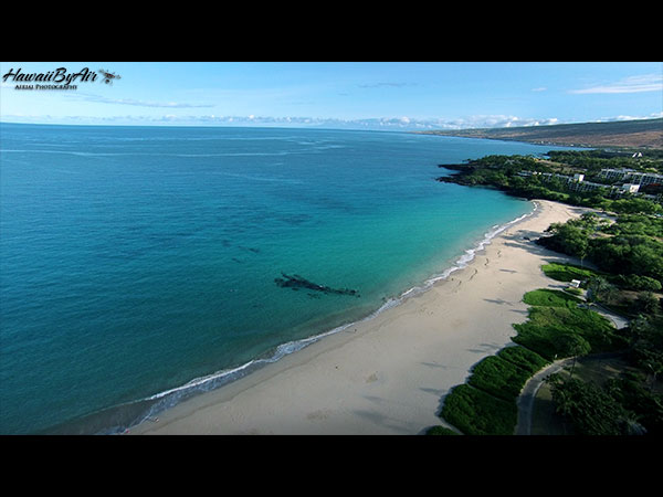 Aerial drone photography of Hapuna Beach on the Big Island of Hawaii Wedding Drone Real Estate