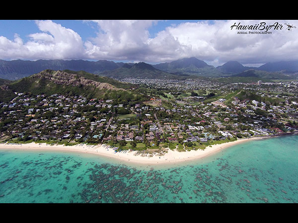 Aerial drone photography of Lani Kai beach in Oahu Hawaii
