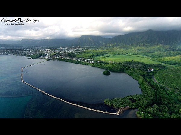 Aerial drone photography of Heeia in Oahu Hawaii Wedding Drone Real Estate