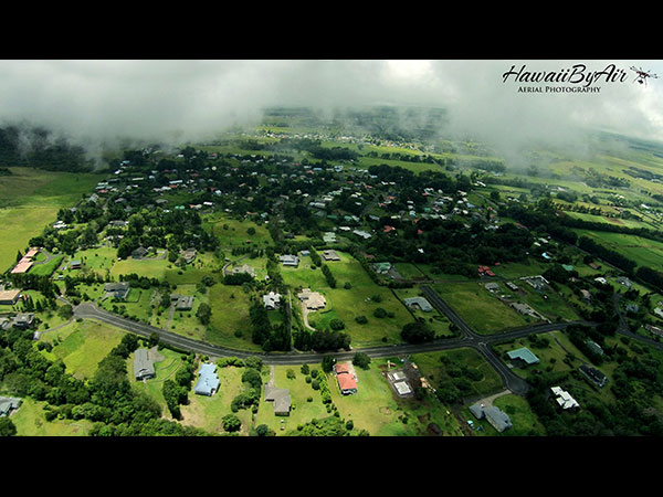 Aerial drone photography of houses in Kamuela on the Big Island of Hawaii Wedding Drone Real Estate
