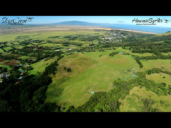 Distant aerial drone photography of houses in Kamuela on the Big Island of Hawaii Wedding Drone Real Estate