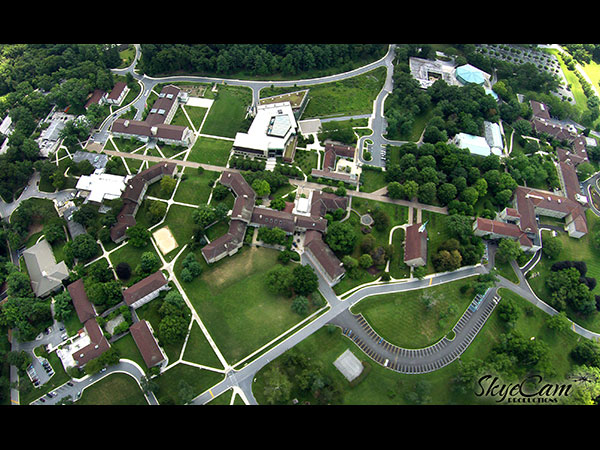 Aerial photo of Goucher College in Baltimore Maryland