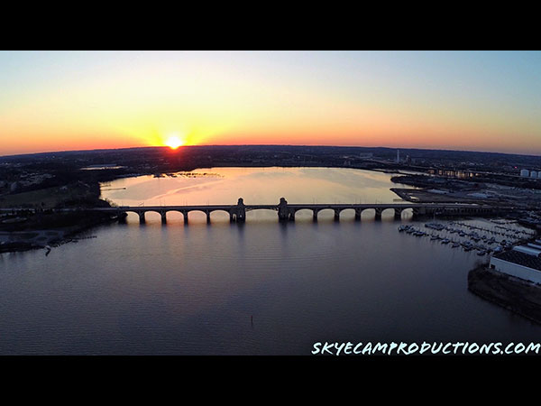 Aerial photo of Hanover Street Bridge in Baltimore MD