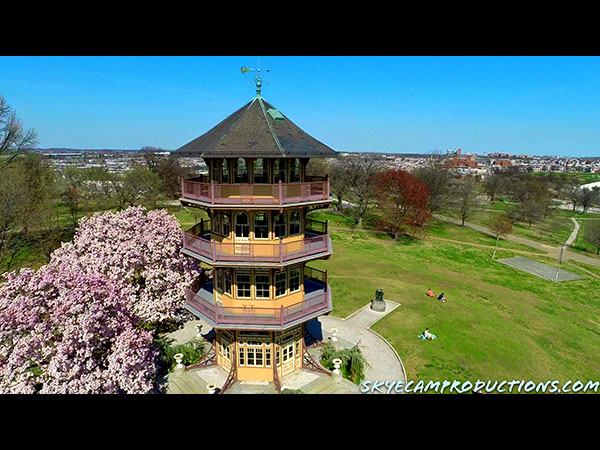Aerial drone photo of Baltimore Patterson Park