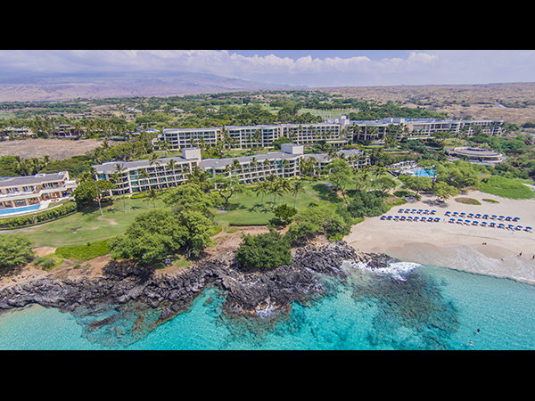 Aerial drone photo of the Hapuna Beach Prince Hotel