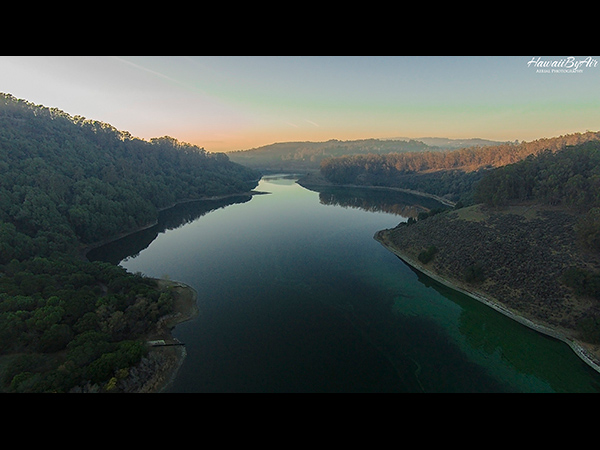 Drone aerial photo of Lake Chabot in California
