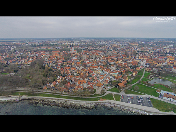 Drone aerial photo of the city of Visby in Sweden