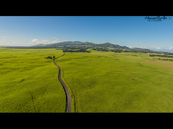 Drone aerial photo of Mana Road in Waimea on the big island of Hawaii
